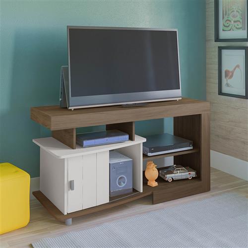 Rack Artely Royal TV Até 47 Pol 1 Porta Amêndoa/Off White na