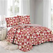 Colcha Queen Camesa Evolution Patchword 260x240cm Cerise