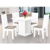 Mesa De Jantar Quadrada JA Móveis Jade Branca Com 4 Cadeiras