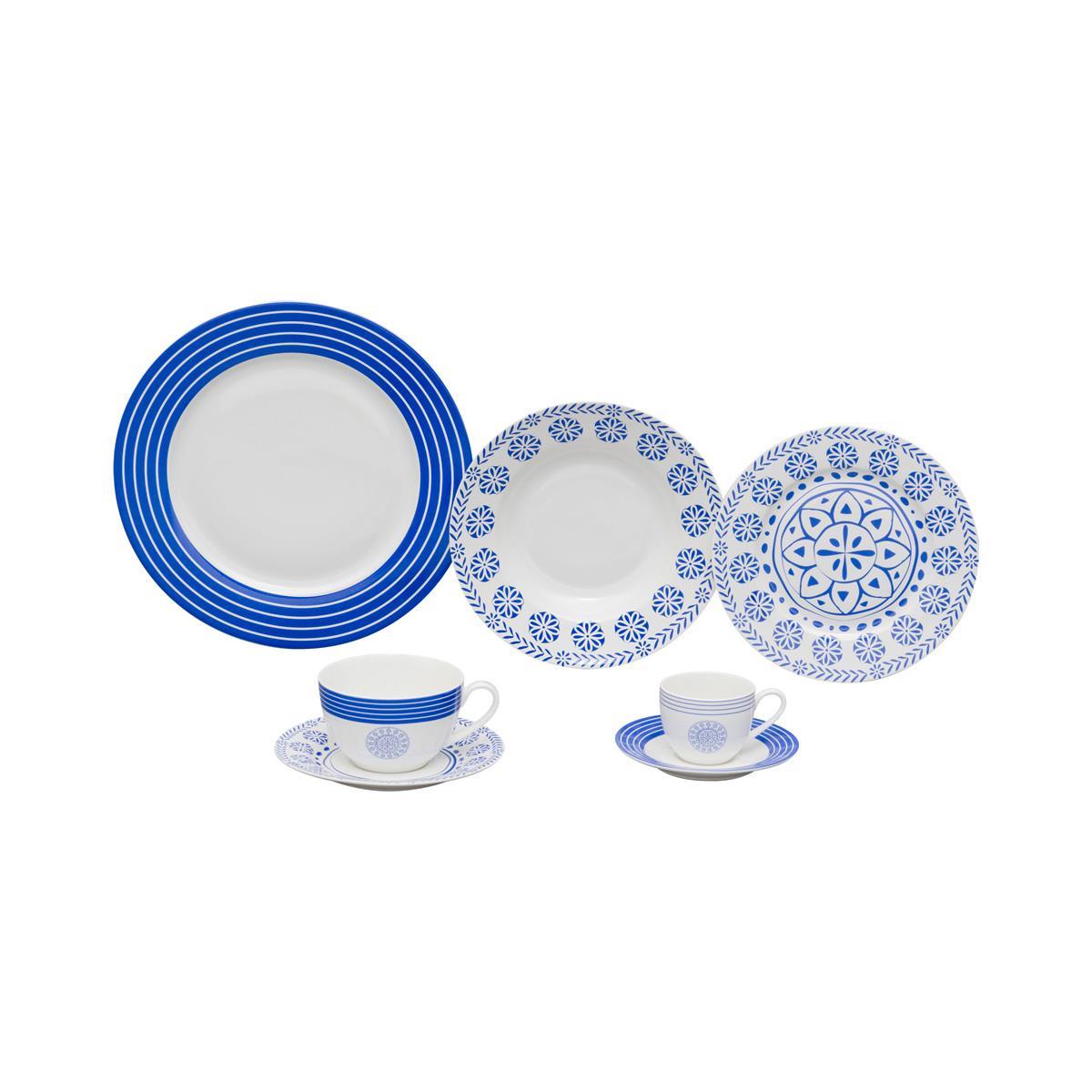 Aparelho Jantar Wolff High White Blue Geometry 42 Peças Porcelana