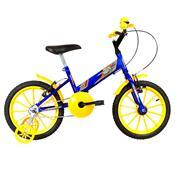 Bicicleta Infantil Ultra Bikes Aro 16 Azul E Amarela Com Rodinhas