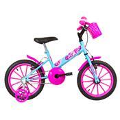 Bicicleta Infantil Ultra Bikes Aro 16 Azul Bebê E Rosa Com Rodinhas