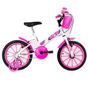 Bicicleta Infantil Ultra Bikes Aro 16 Branca E Rosa Com Rodinhas