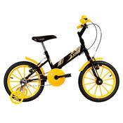 Bicicleta Infantil Ultra Bikes Aro 16 Preta E Amarela Com Rodinhas