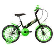 Bicicleta Infantil Ultra Bikes Aro 16 Preta E Verde Com Rodinhas