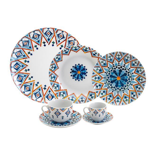 Aparelho De Jantar Wolff Super White Marrakesh 42 Peças Porcelana