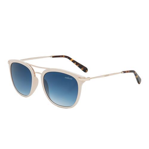 13ff7ba23 Óculos De Sol Colcci Mag Branco E Dourado Demi Lente Azul Espelhada