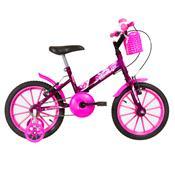 Bicicleta Infantil Ultra Bikes Aro 16 Lilás E Rosa Com Rodinhas