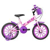 Bicicleta Infantil Ultra Bikes Aro 16 Rosa Bebê E Lilás Com Rodinhas