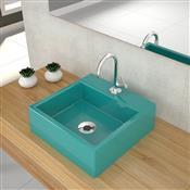 Kit Cuba Para Banheiro Trevalla Q355W Com Torneira Azul Turquesa