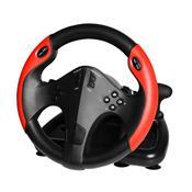 Volante Gamer Multilaser JS087 Com Marcha E Pedal Preto E Vermelho