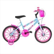 Bicicleta Infantil Ultra Bikes Aro 16 Com Rodinhas Azul Bebê/Rosa