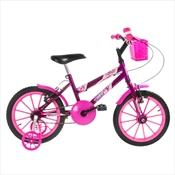 Bicicleta Infantil Ultra Bikes Aro 16 Com Rodinhas Lilás E Rosa