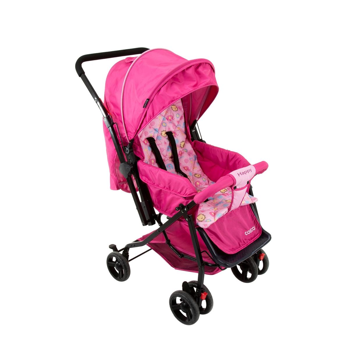 Carrinho De Bebê Cosco Happy Reclinável 3 Posições Rosa