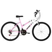 Bicicleta Aro 26 Ultra Bikes Bicolor 18 Marchas Rosa Bebê E Branco