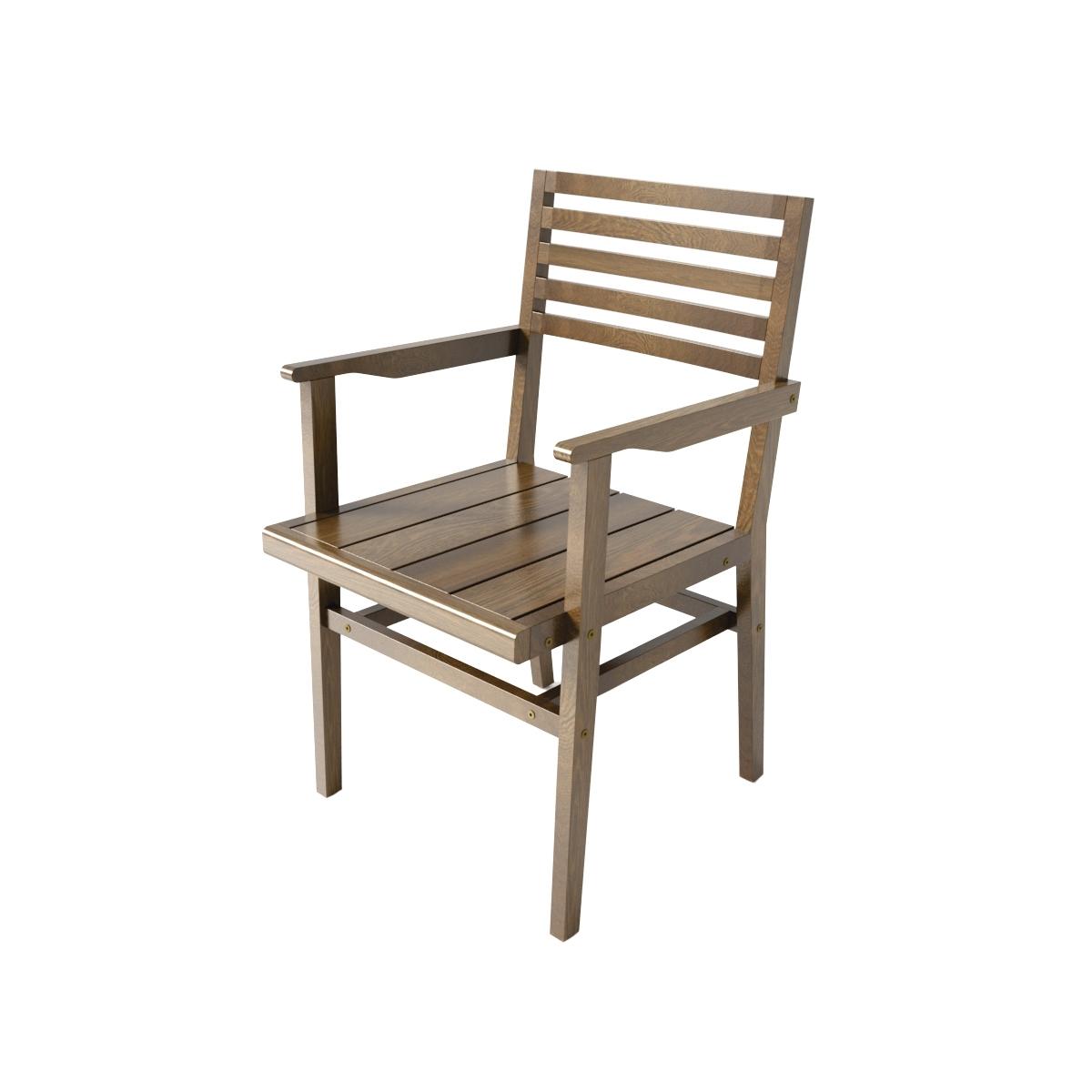 Cadeira De Madeira Para Jardim Entalharte York Com Braços Conhaque