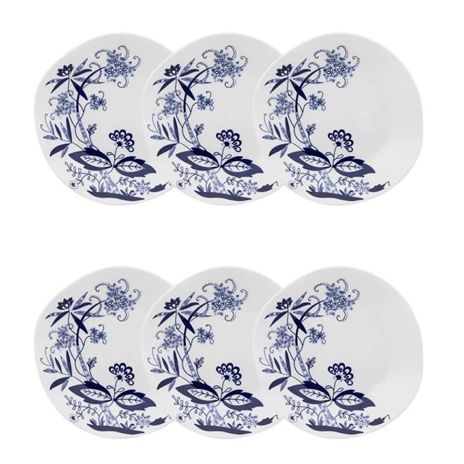 Conjunto 6 Pratos Para Sobremesa Oxford Ryo Union 21.5Cm Porcelana Azul