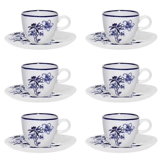 Conjunto 6 Xícaras De Chá Oxford Ryo Union 220ml Com Pires Porcelana