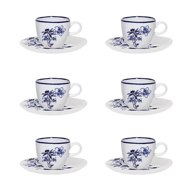 Conjunto 6 Xícaras De Café Oxford Ryo Union 75ml Com Pires Porcelana