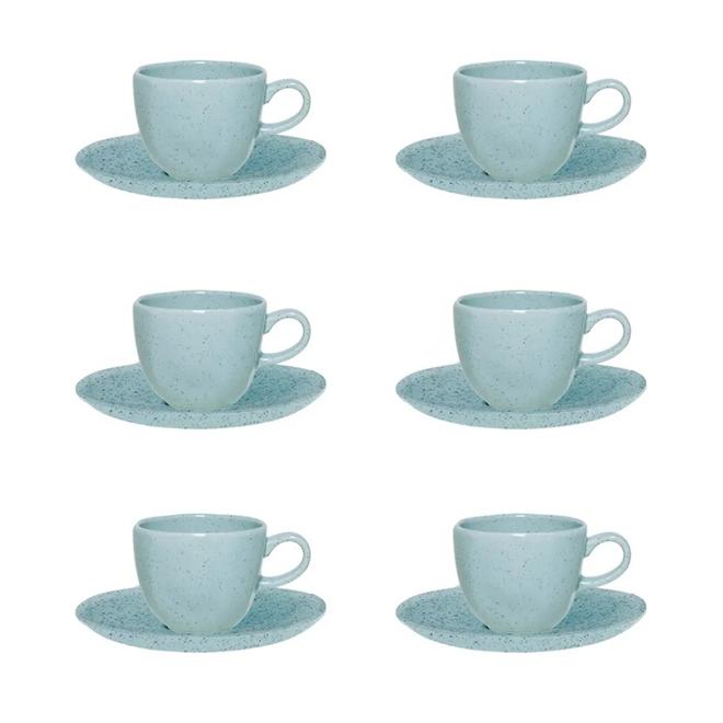 Conjunto 6 Xícaras De Café Oxford Ryo Blue Bay 75ml Com Pires