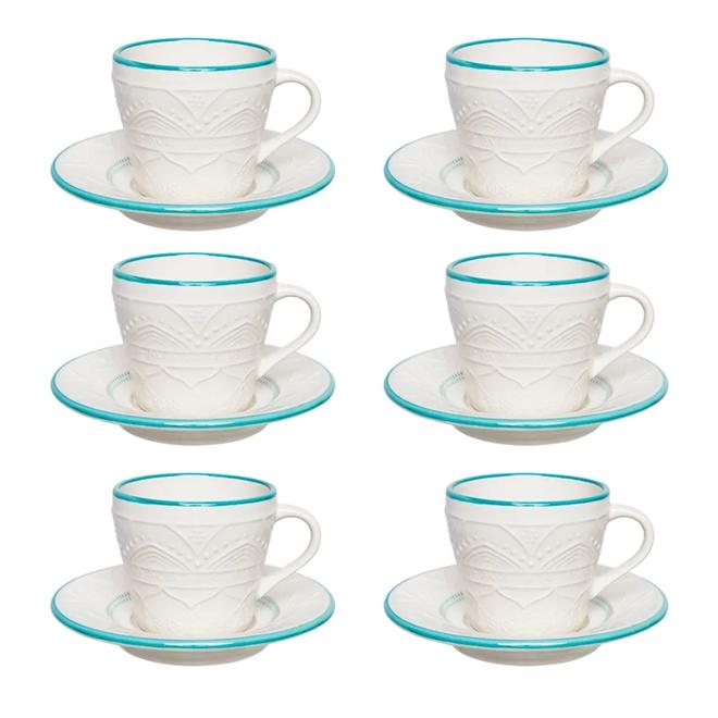 Conjunto 6 Xícaras Chá Oxford Sky Cerâmica 220ml Azul E Marfim