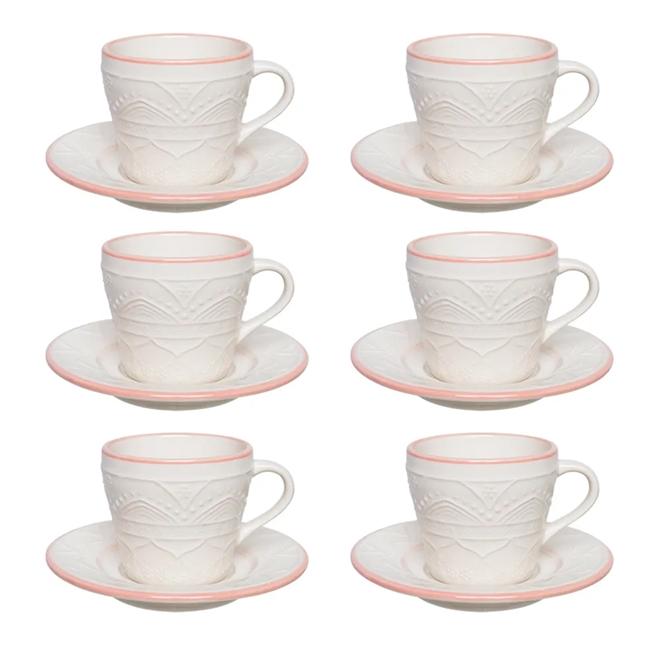 Conjunto 6 Xícaras Chá Oxford Sweet Cerâmica 220ml Laranja/Marfim