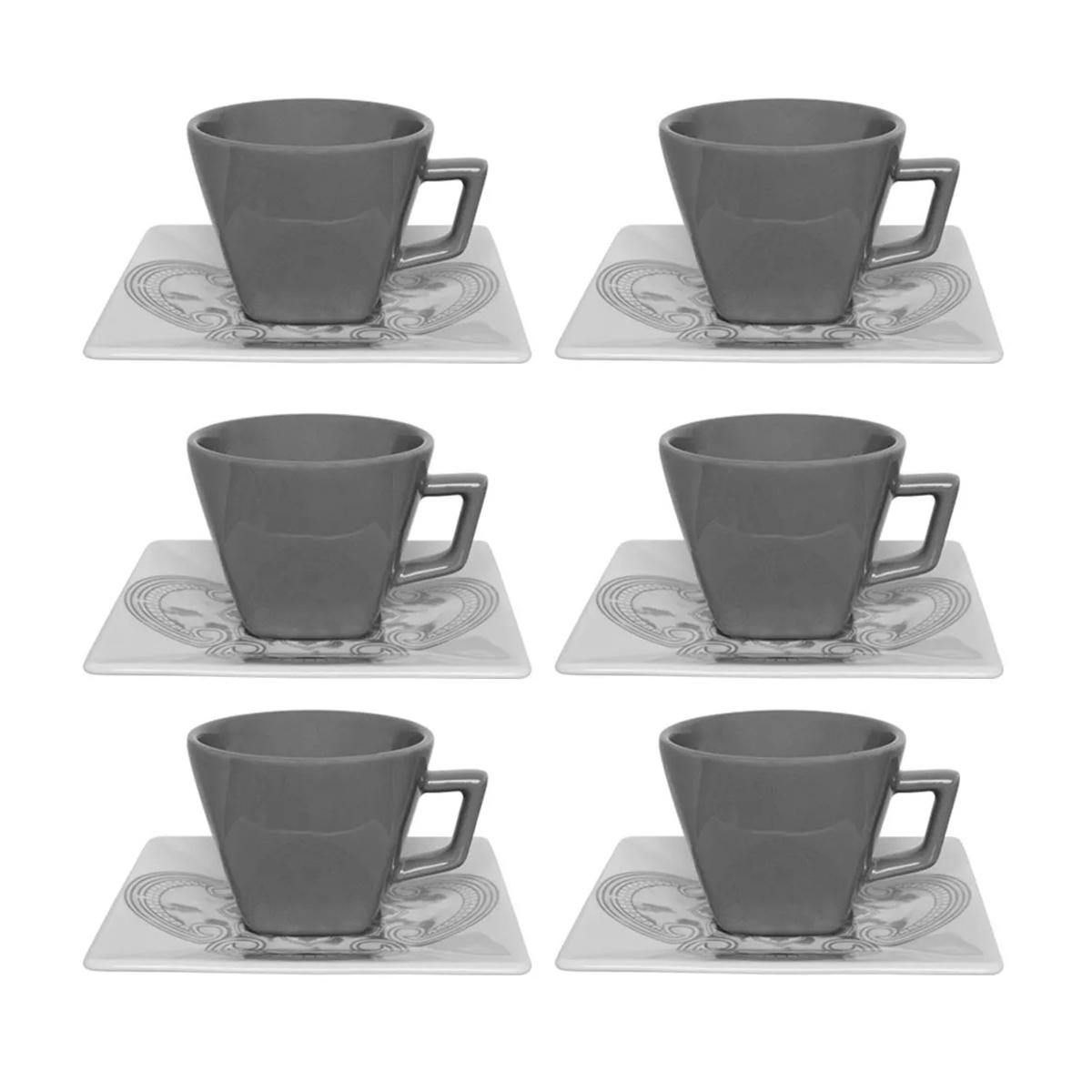 Conjunto 6 Xícaras De Chá Oxford Quartier 200ml Com Pires Porcelana