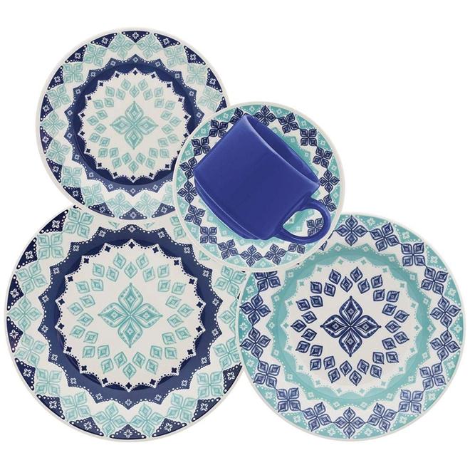 Aparelho De Jantar Oxford Lola 30 Peças Cerâmica Azul