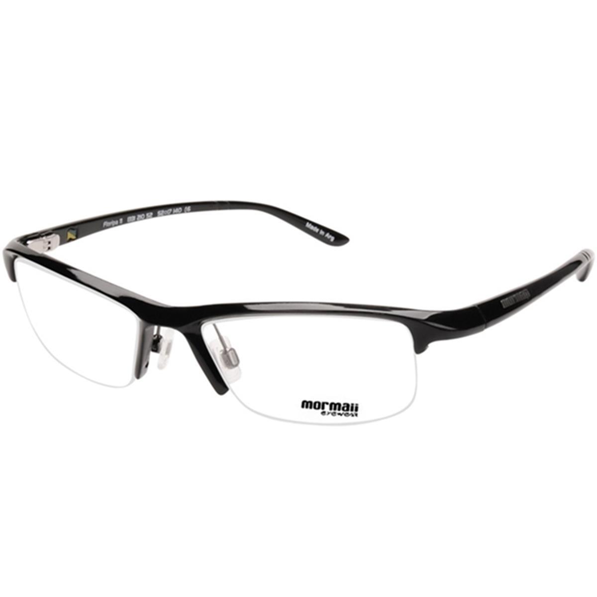 811be3b27 Armação Óculos de Grau Preto Brilhante Tamanho 52 FLORIPA11 Mormaii