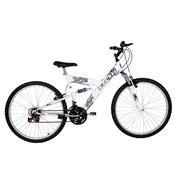 Bicicleta Full Suspension Kanguru Aço Aro 26 Polimet Branca